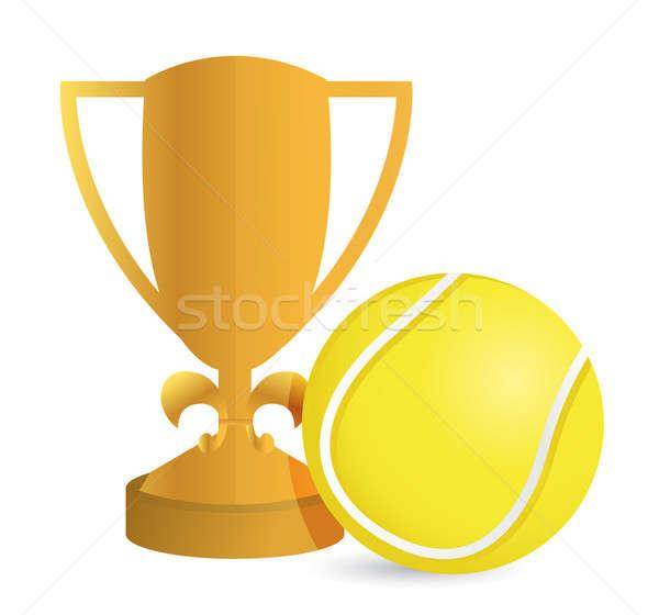 Złota trofeum kubek tenis biały sportu Zdjęcia stock © alexmillos