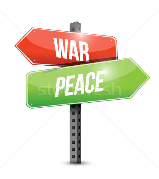 war and peace road sign illustration design over white Stock photo © alexmillos