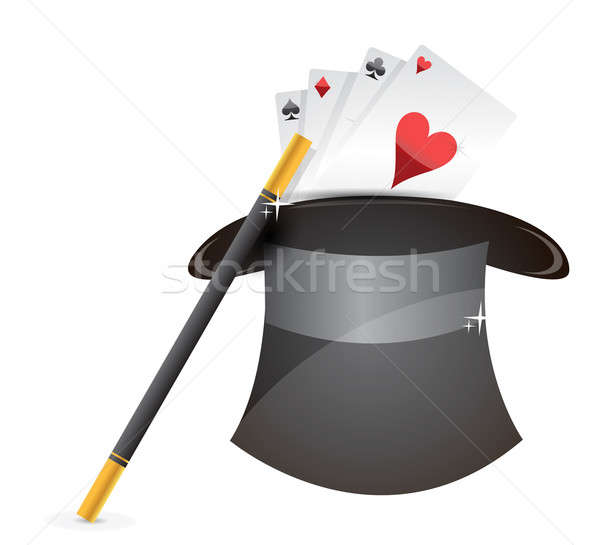 Glossy magic hat, wand and cards illustration design over white Stock photo © alexmillos
