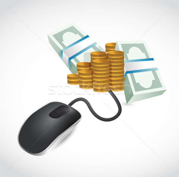 computer mouse is connected to a big pile of money. illustration Stock photo © alexmillos