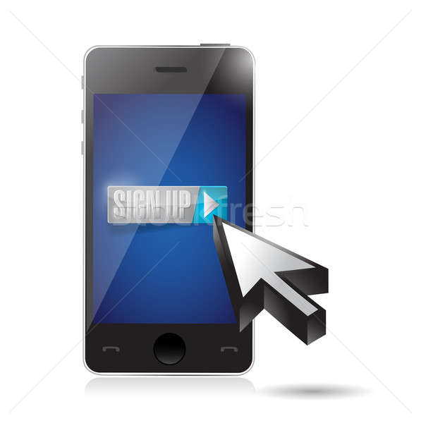 sign up on phone. illustration design over a white background Stock photo © alexmillos