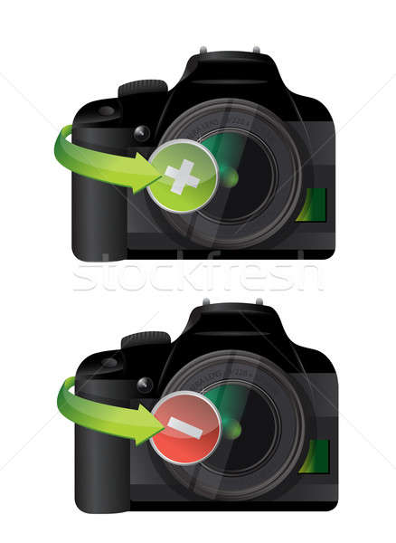 Camera plus and minus icons  Stock photo © alexmillos