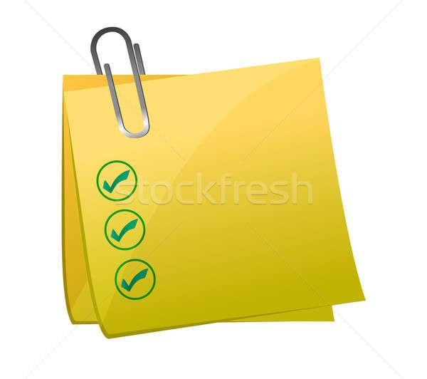 Checkmark post it yellow  Stock photo © alexmillos