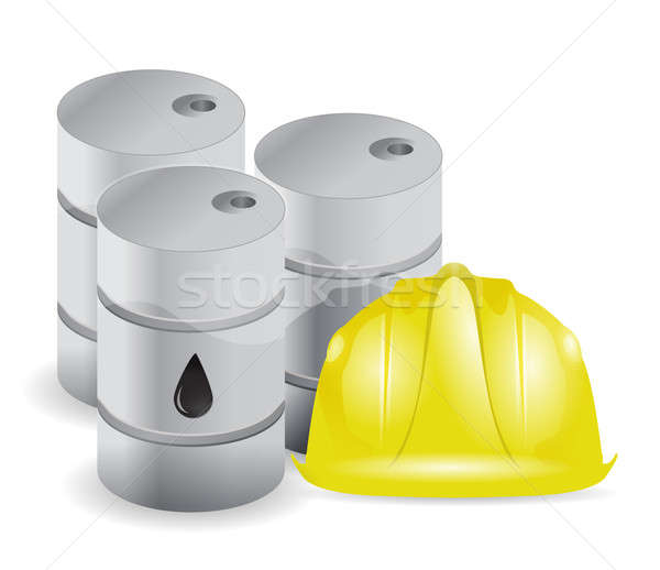 Oil barrels and wiring helmet Stock photo © alexmillos