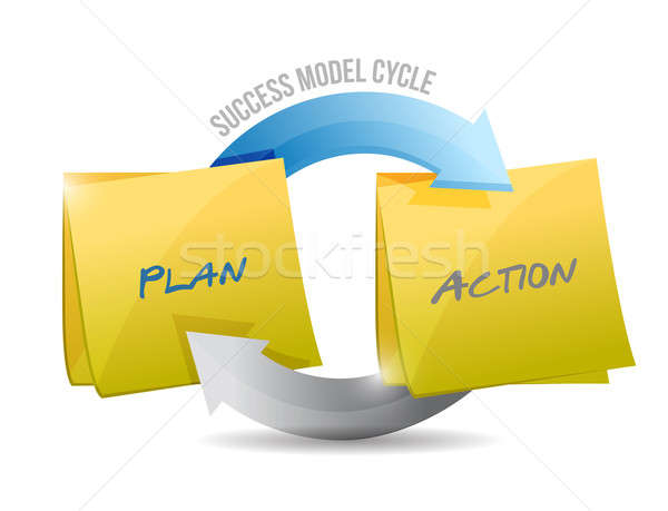 success model cycle plan and action. illustration design over wh Stock photo © alexmillos