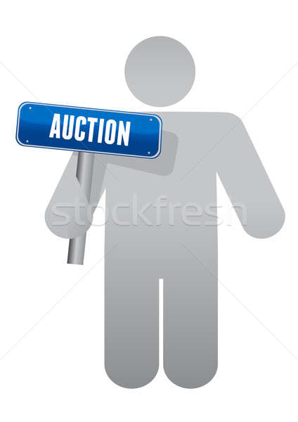 Icon holding an auction sign Stock photo © alexmillos