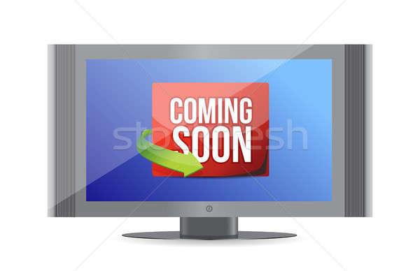 Hamarosan jön tv képernyő illusztráció terv fehér Stock fotó © alexmillos
