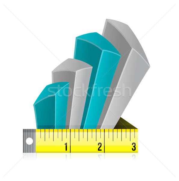 Tape measure bar graph concept illustration Stock photo © alexmillos