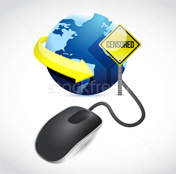 censored connection concept sign and mouse Stock photo © alexmillos