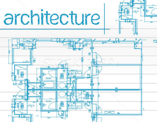 Illustration of architecture Blueprints over notepaper. Stock photo © alexmillos