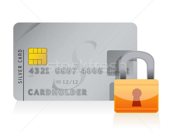 Kreditkarte verschlossen Sicherheit Sperre Hintergrund Warenkorb Stock foto © alexmillos