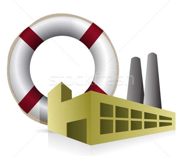Sos fábrica ilustração projeto branco mar Foto stock © alexmillos