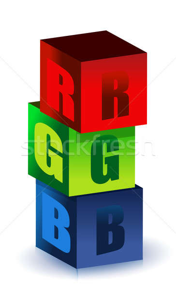 RGB illustration boxes isolated over a white background Stock photo © alexmillos