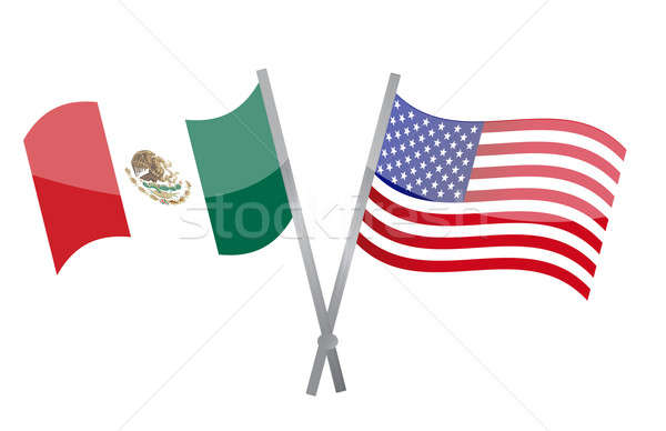 American and Mexican alliance and friendship illustration Stock photo © alexmillos