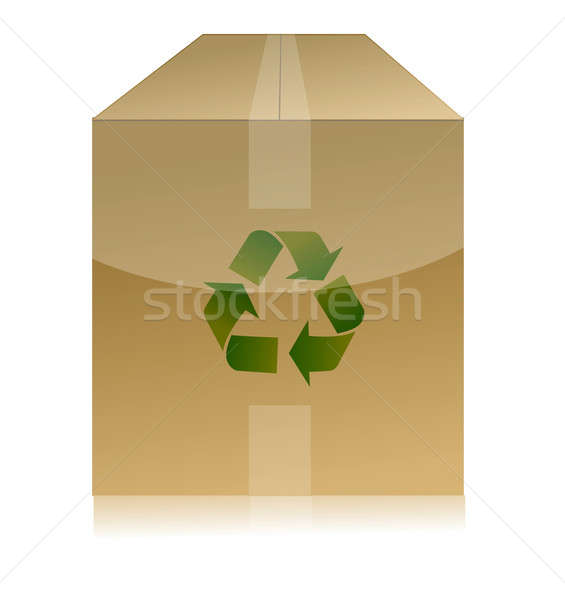 cardboard box with recycle symbol on white background Stock photo © alexmillos
