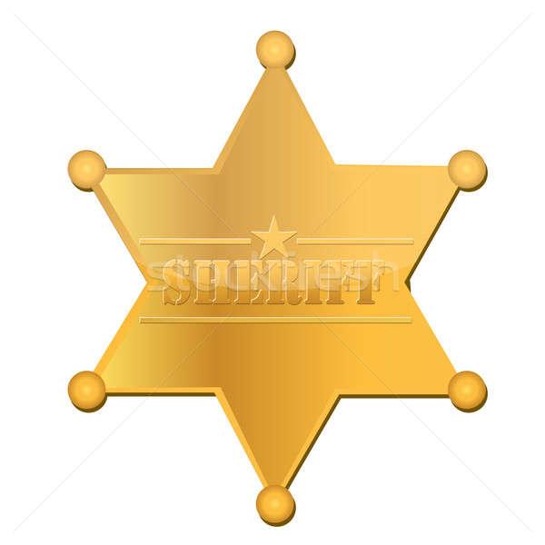 Sheriff csillag fém arany fehér stúdió Stock fotó © alexmillos