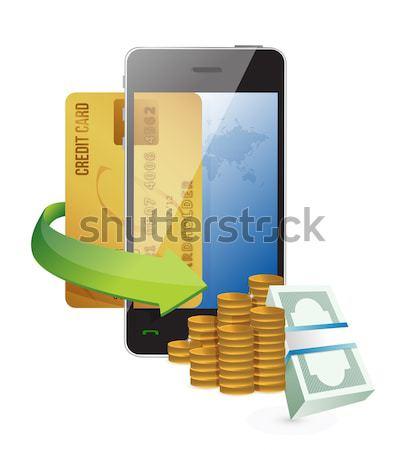 Ordenador línea banco transferir ilustración diseno Foto stock © alexmillos