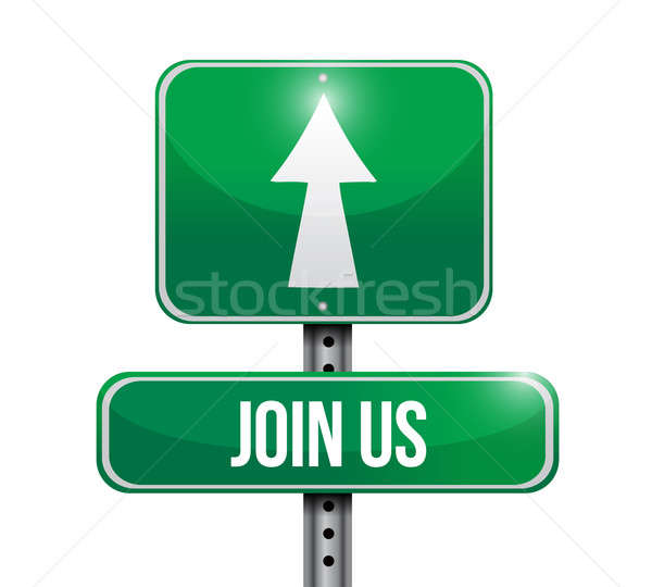 join us road sign illustration design over white Stock photo © alexmillos