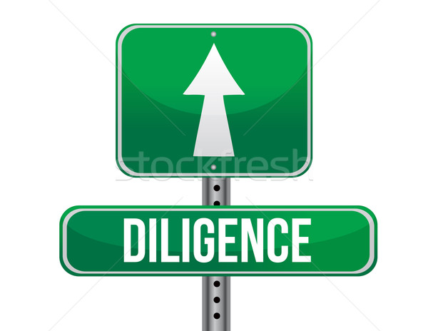 diligence road sign illustration design over a white background Stock photo © alexmillos