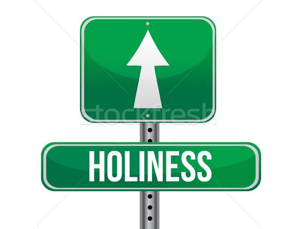 Kutsallık yol işareti örnek dizayn beyaz imzalamak Stok fotoğraf © alexmillos