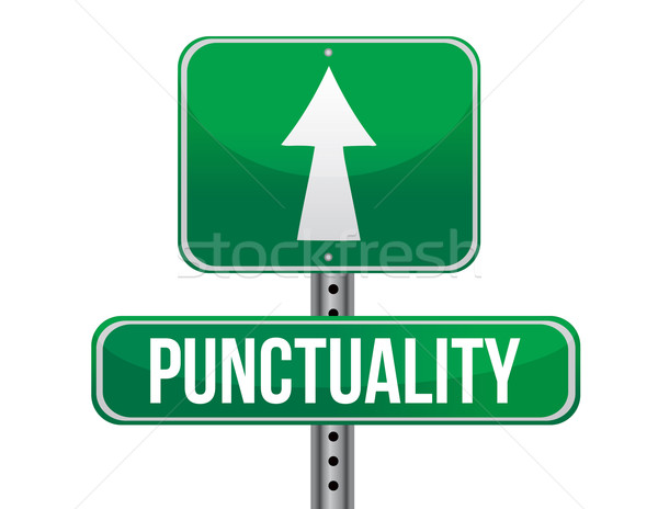 punctuality road sign illustration design over a white backgroun Stock photo © alexmillos