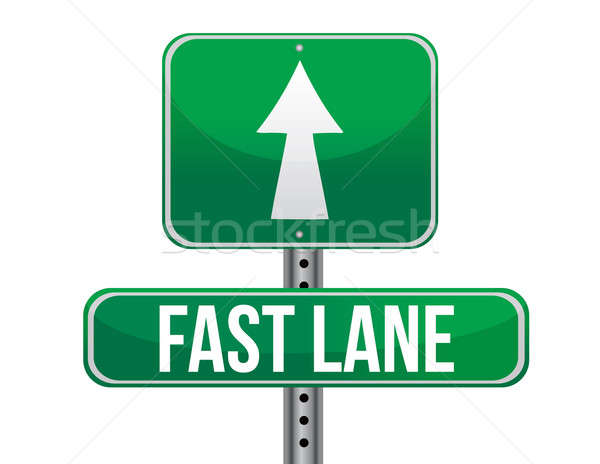 Fast Lane Green Road Sign illustration design over a white backg Stock photo © alexmillos