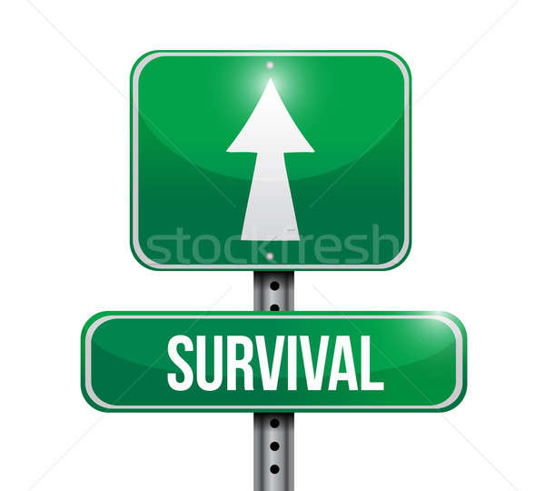 survival road sign illustration design over white Stock photo © alexmillos