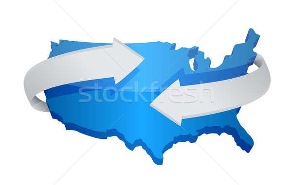 карта иллюстрация дизайна белый зеленый синий Сток-фото © alexmillos