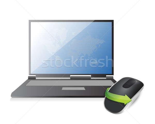 ноутбука беспроводных Компьютерная мышь изолированный белый технологий Сток-фото © alexmillos