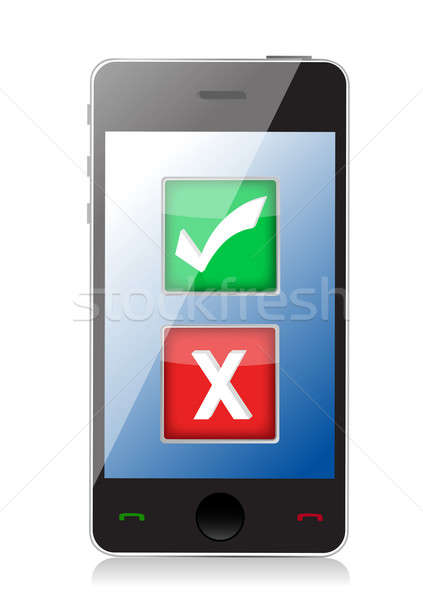 Mobile phone with check and x marks selection illustration desig Stock photo © alexmillos