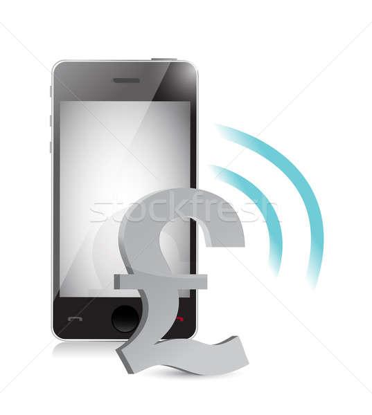 Brytyjski funt waluta zarządzania telefonu komórkowego ilustracja Zdjęcia stock © alexmillos