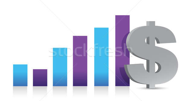Gráfico de negocio moneda signo blanco fondo rojo Foto stock © alexmillos