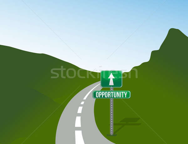 Opportunity road with sign landscape illustration design Stock photo © alexmillos