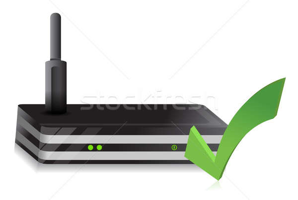 Wireless Router check mark illustration design over a white back Stock photo © alexmillos