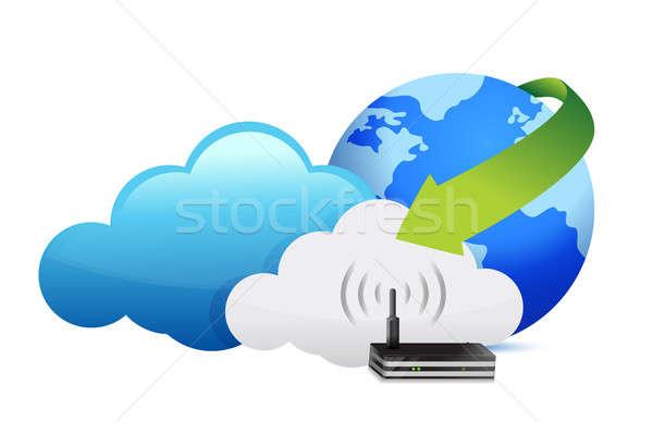 Stockfoto: Wereldbol · router · bewegende · internet · ontwerp