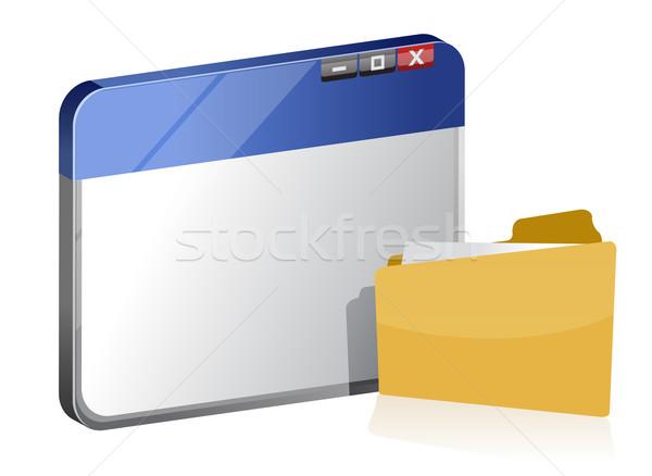 Browser venster map kantoor internet achtergrond Stockfoto © alexmillos