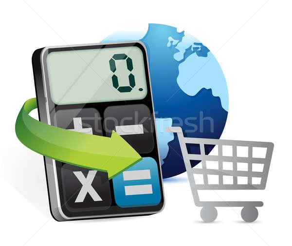 International shopping and modern calculator  Stock photo © alexmillos