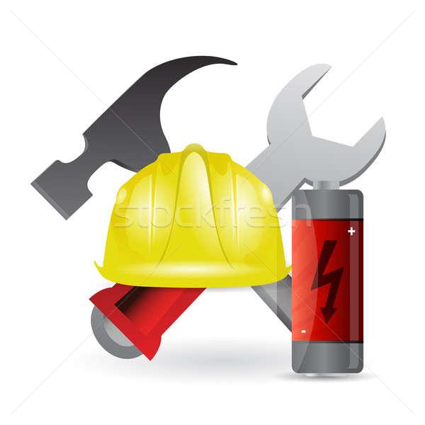 Battery construction tools illustration  Stock photo © alexmillos