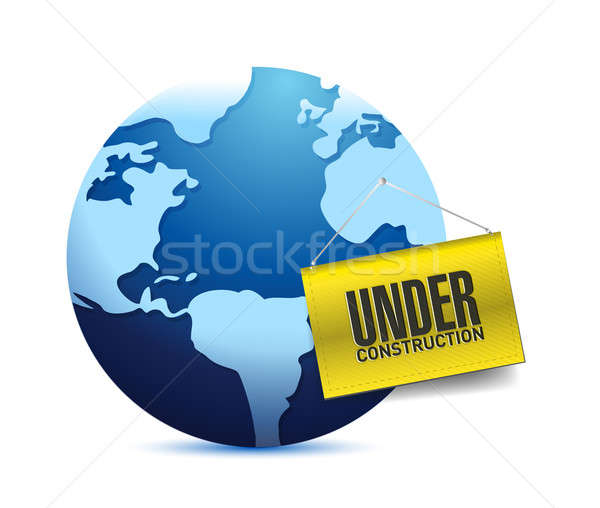 Under construction barrier and earth globe  Stock photo © alexmillos