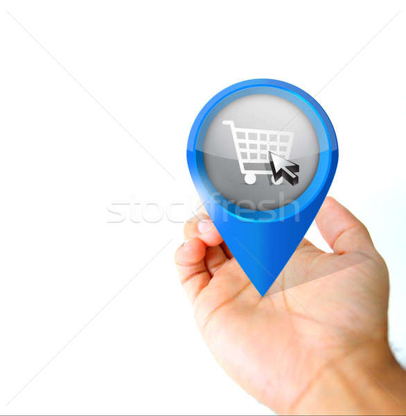 Hand holding a online shop pin pointer icon Stock photo © alexmillos