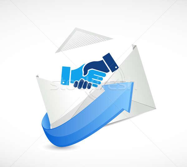 Mail negocios acuerdo apretón de manos ilustración diseno Foto stock © alexmillos