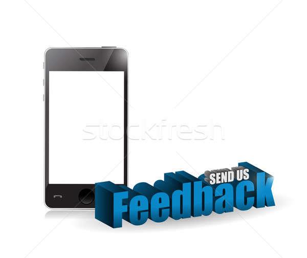 phone feedback 3d blue sign illustration design Stock photo © alexmillos