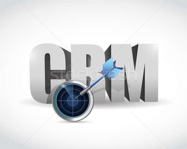 Crm target oplossingen illustratie ontwerp witte Stockfoto © alexmillos