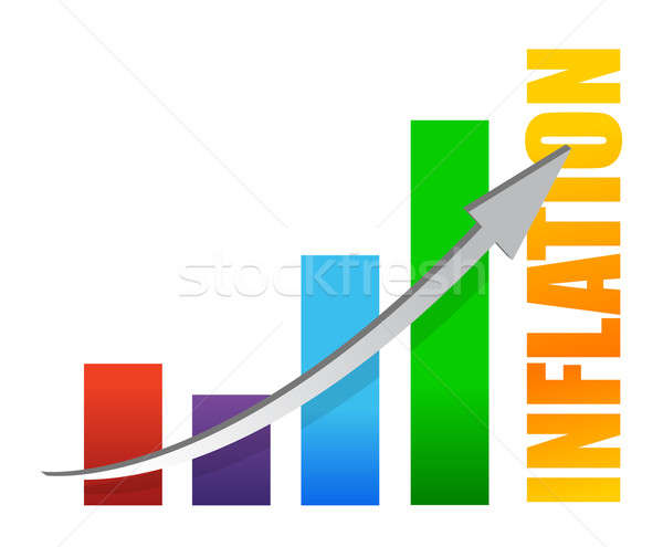 inflation chart and arrow illustration design on white Stock photo © alexmillos
