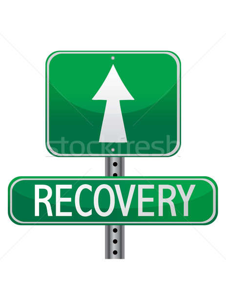 street sign about personal health and business recovery Stock photo © alexmillos