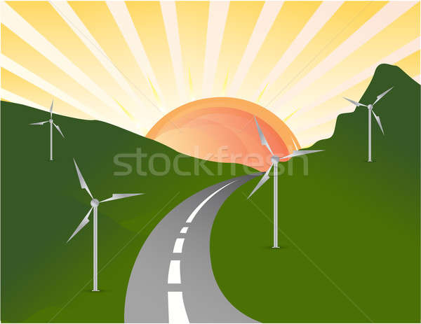 Wind turbines farm. Alternative energy source. Stock photo © alexmillos