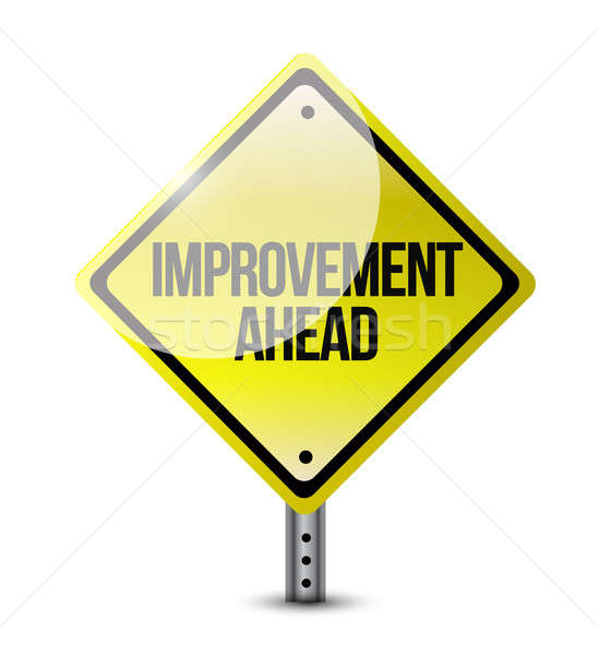 improvement ahead road sign illustration design over a white bac Stock photo © alexmillos
