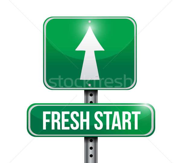 fresh start road sign illustration design over white Stock photo © alexmillos