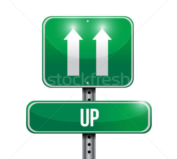 up road sign illustration design over a white background Stock photo © alexmillos