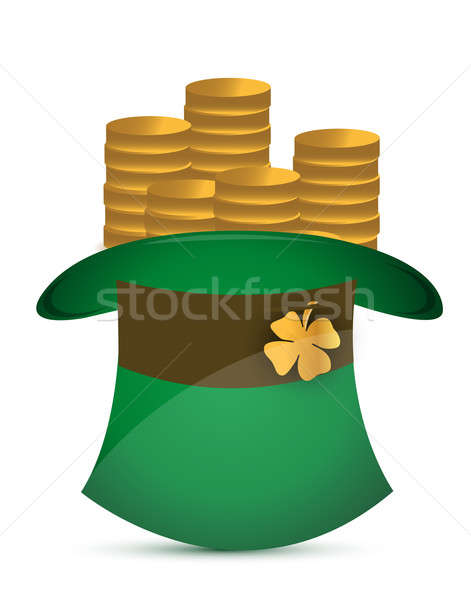 Leprechaun hat filled with gold coins illustration design Stock photo © alexmillos